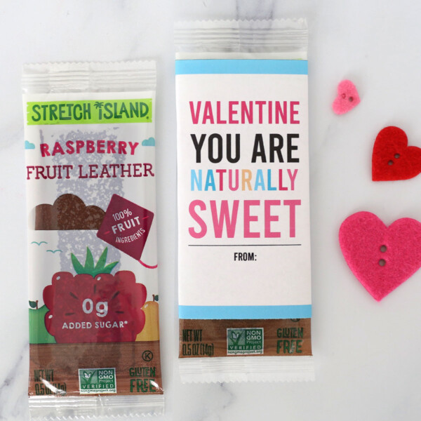 Fruit leather wrapped in tag that says: Valentine you are naturally sweet