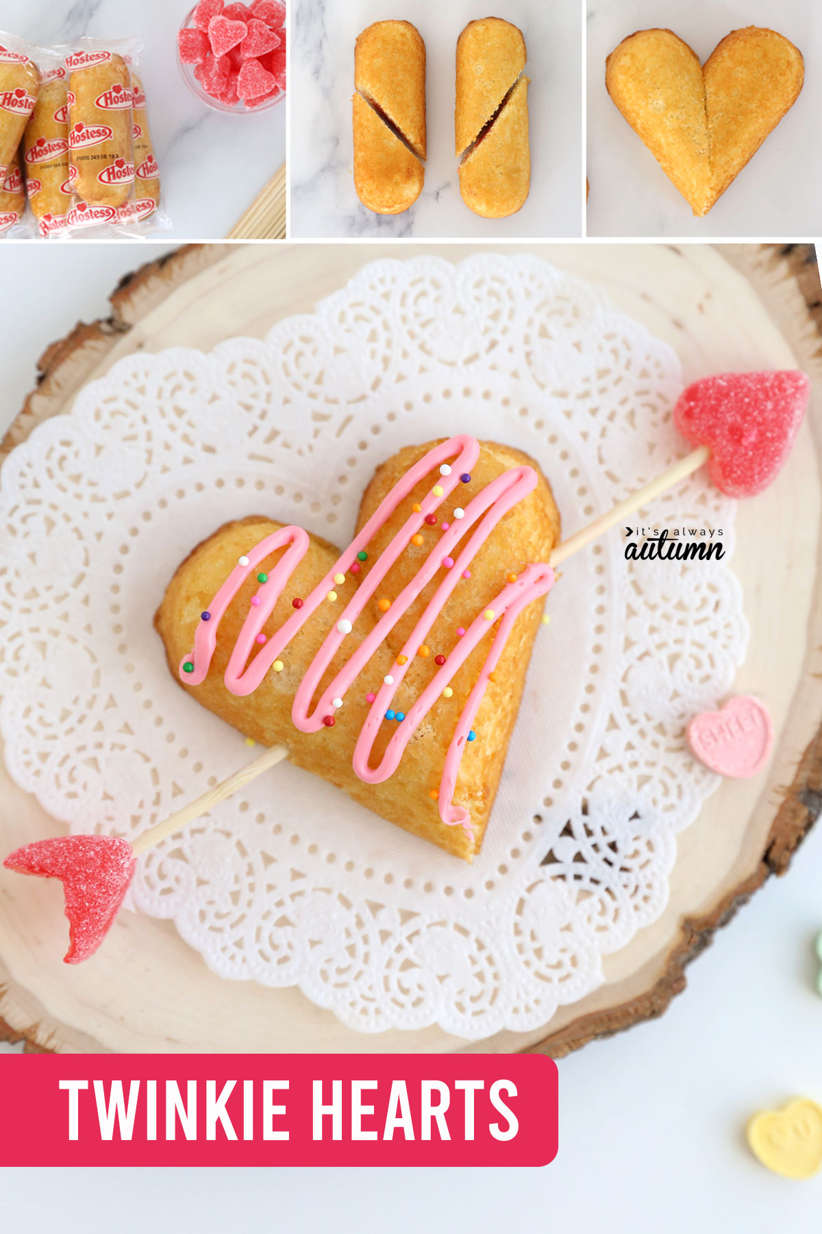 Twinkies cut diagonally and shaped into hearts, with an arrow made from a wood skewer and jelly heart candy