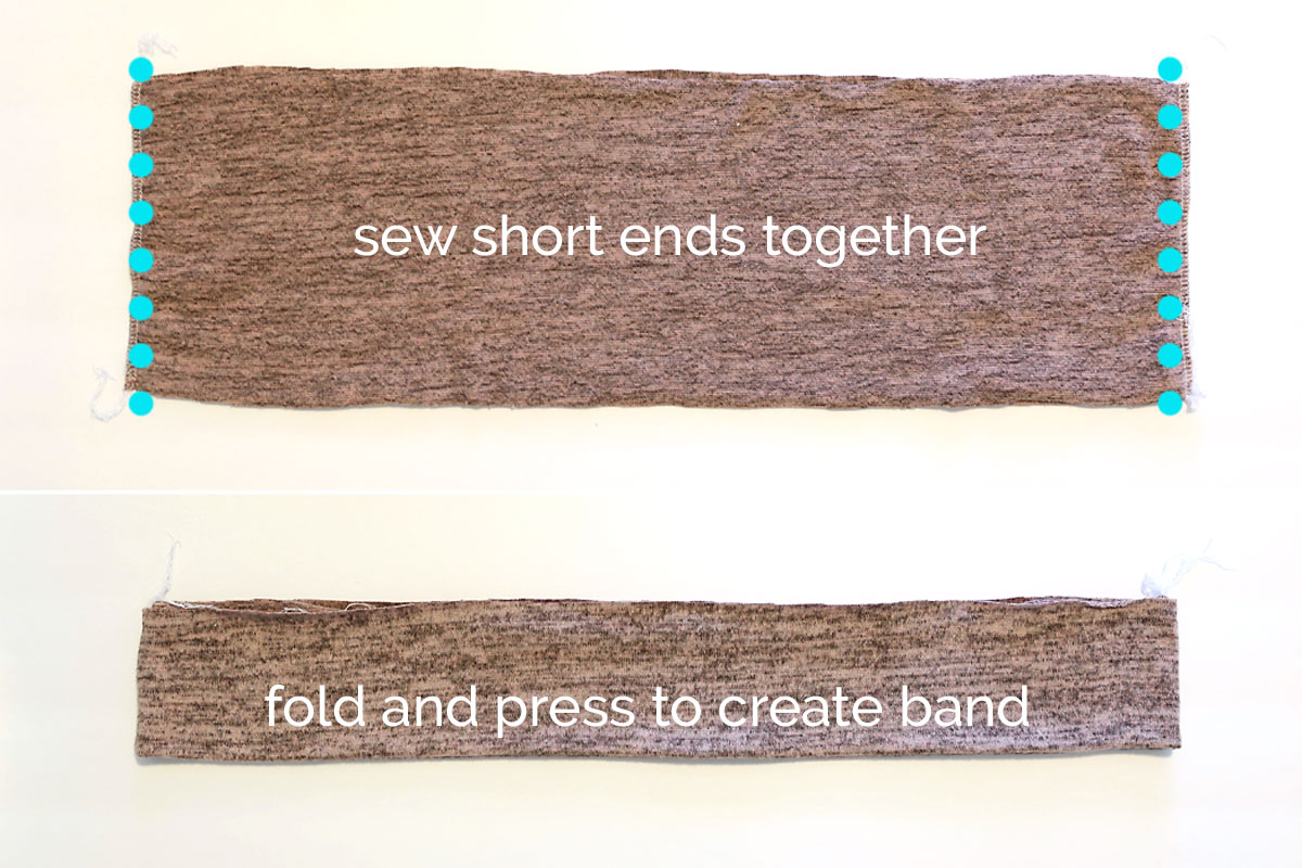Hem band pieces sewn together on the short ends; hem band folded in half and pressed
