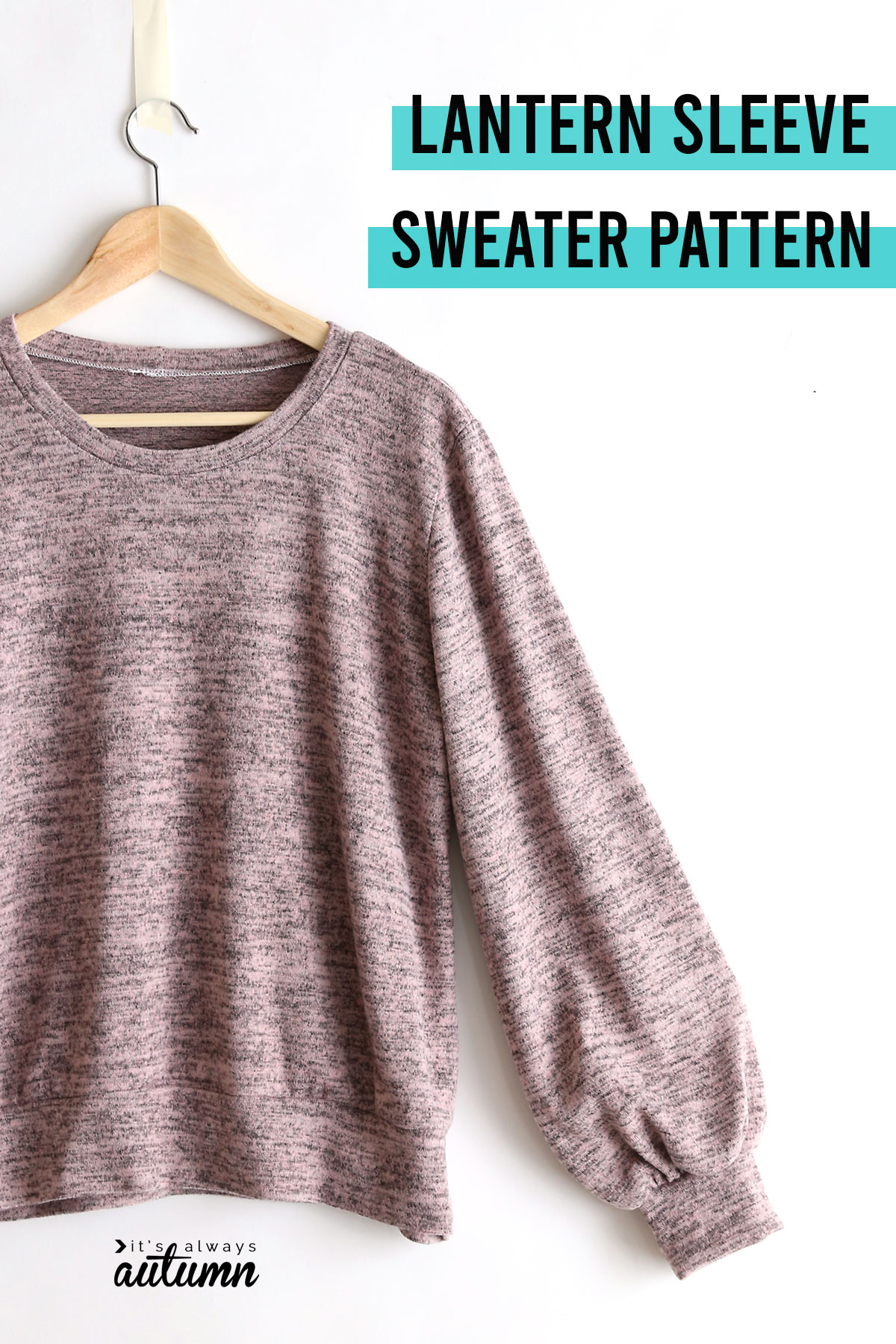 Pink sweater with lantern (gathered) sleeves
