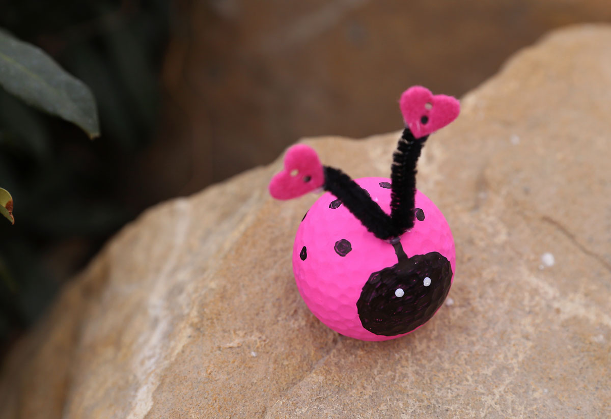 Golf ball painted pink and black with pipe cleaner antennae