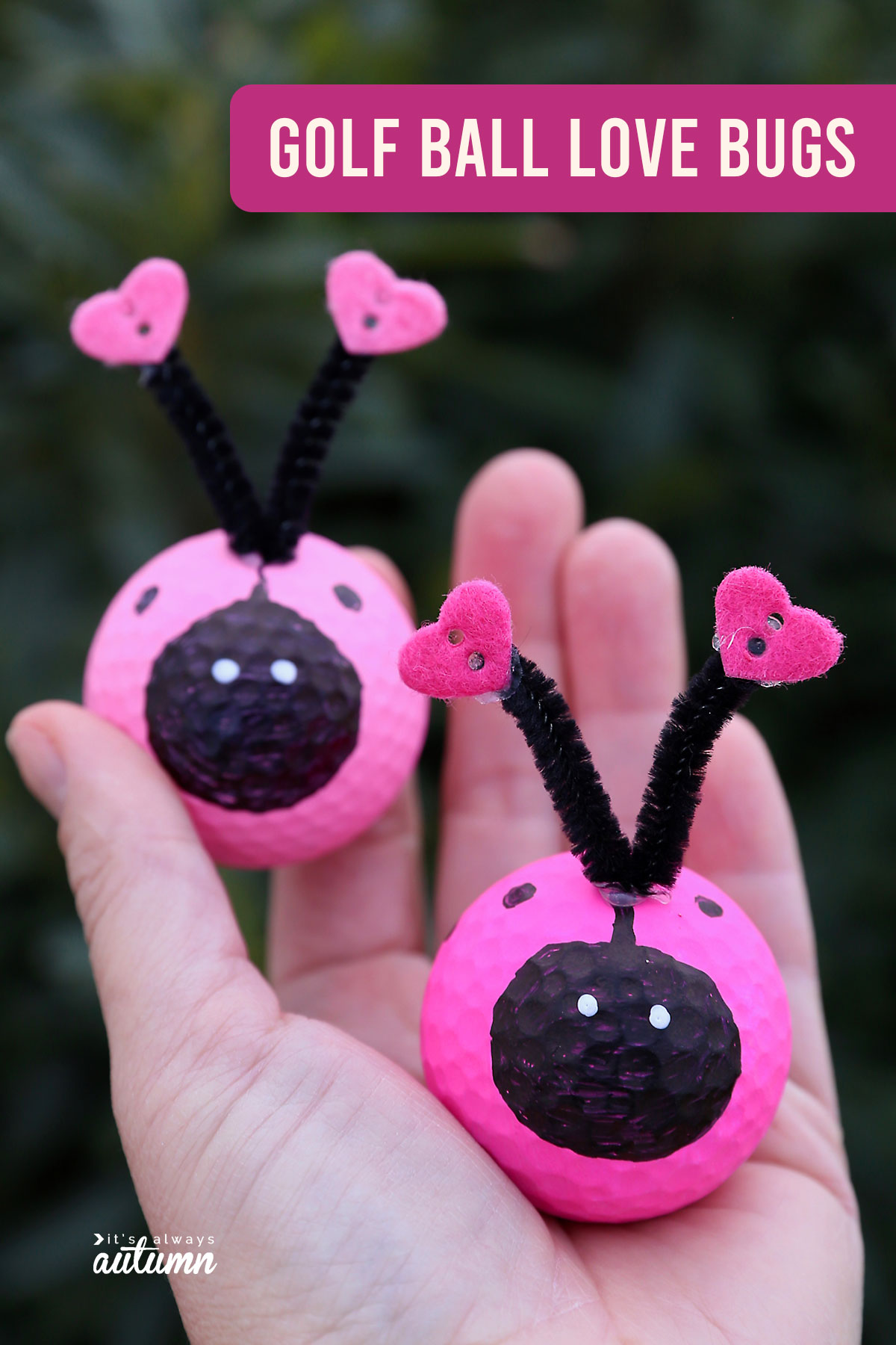 Hand holding love bugs made from golf balls