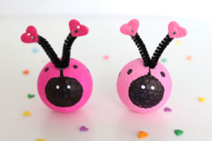Love bug craft made from golf balls