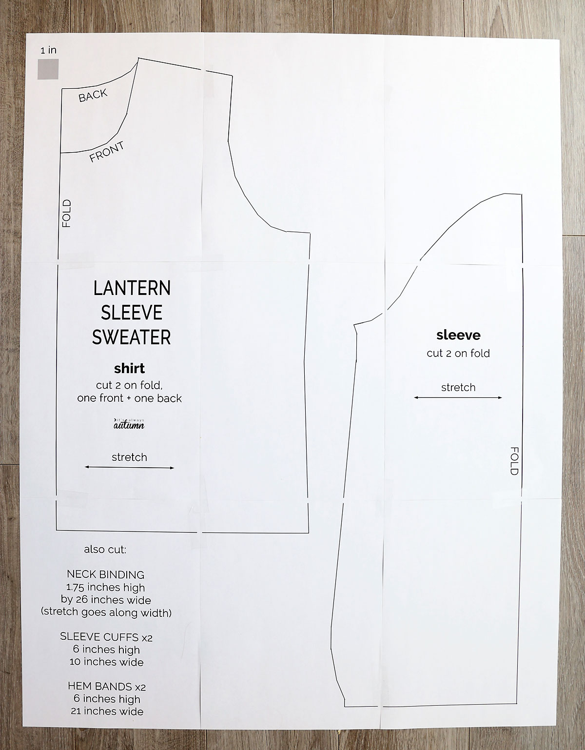 Lantern Sleeve Sweater sewing pattern printed out