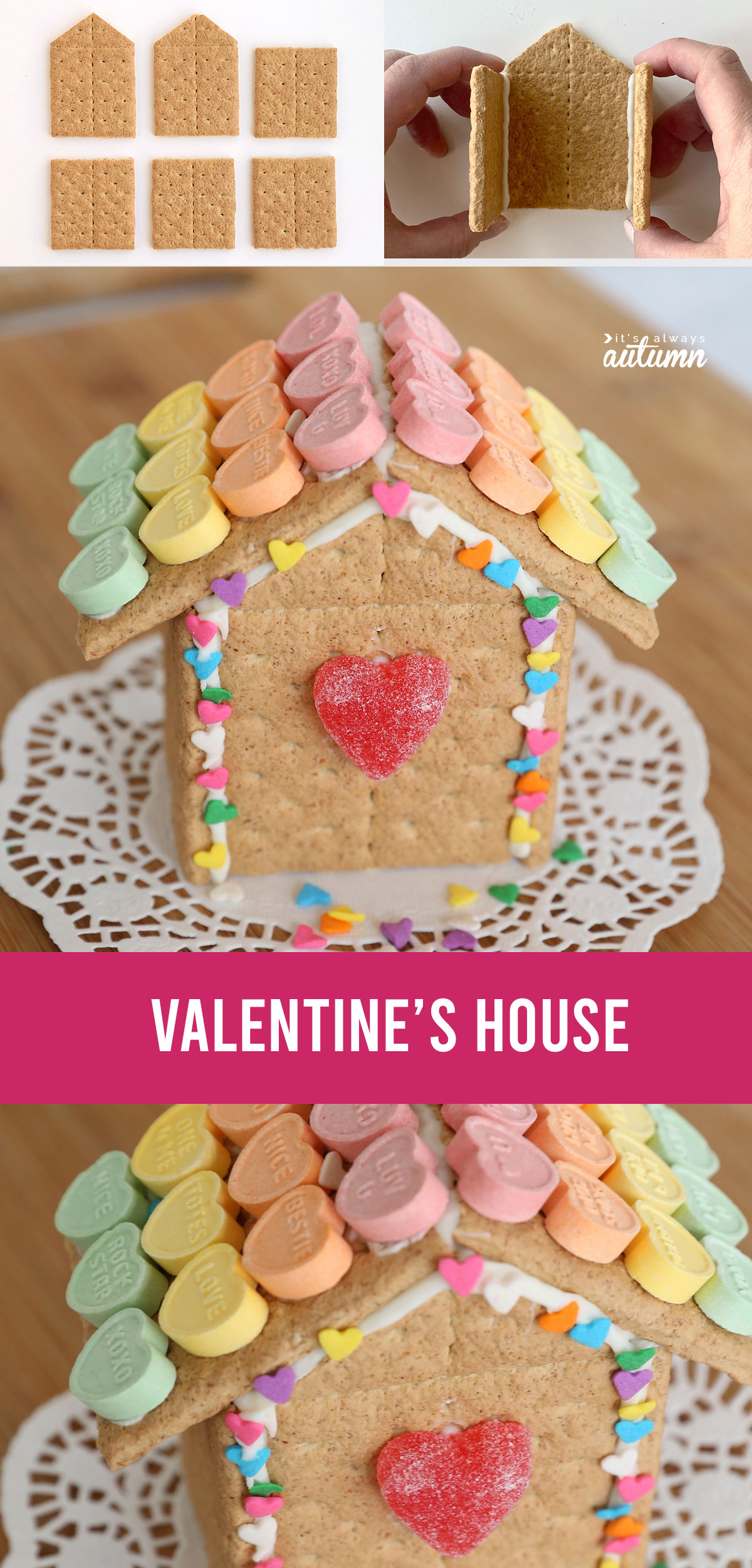 Valentine's Day gingerbead house made from graham crackers decorated with Valentines candy