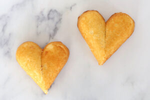Cut pieces of Twinkie put together to form heart shape