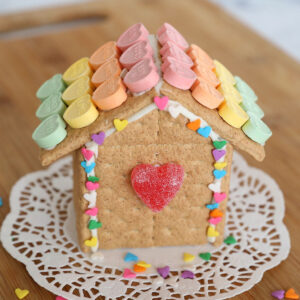 Valentine's house made from graham crackers decorated with candy hearts
