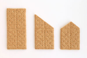 Full graham cracker, graham cracker cut diagonally across the top, graham cracker cut again
