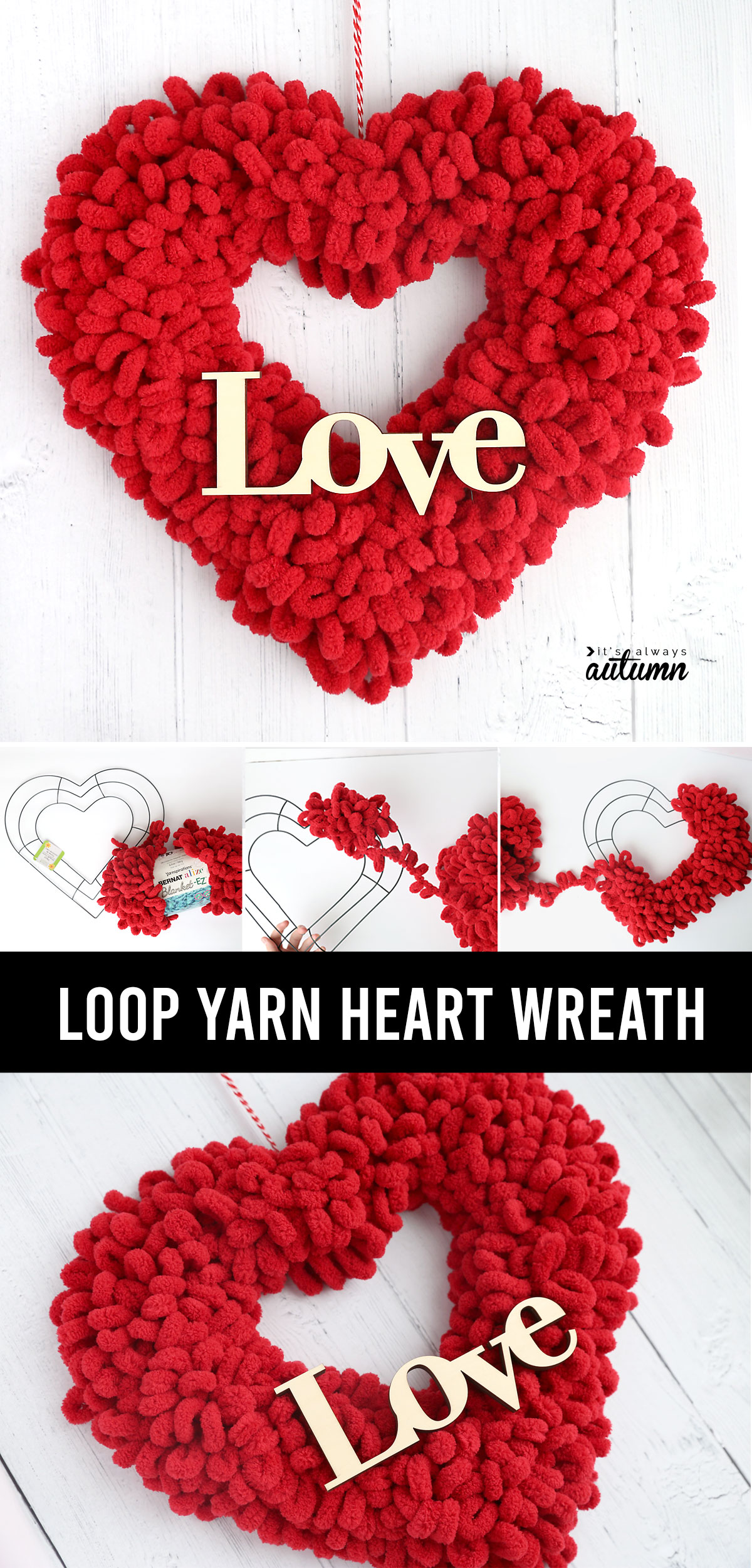 Fluffy red heart shaped wreath made from a dollar store wreath form and loop yarn