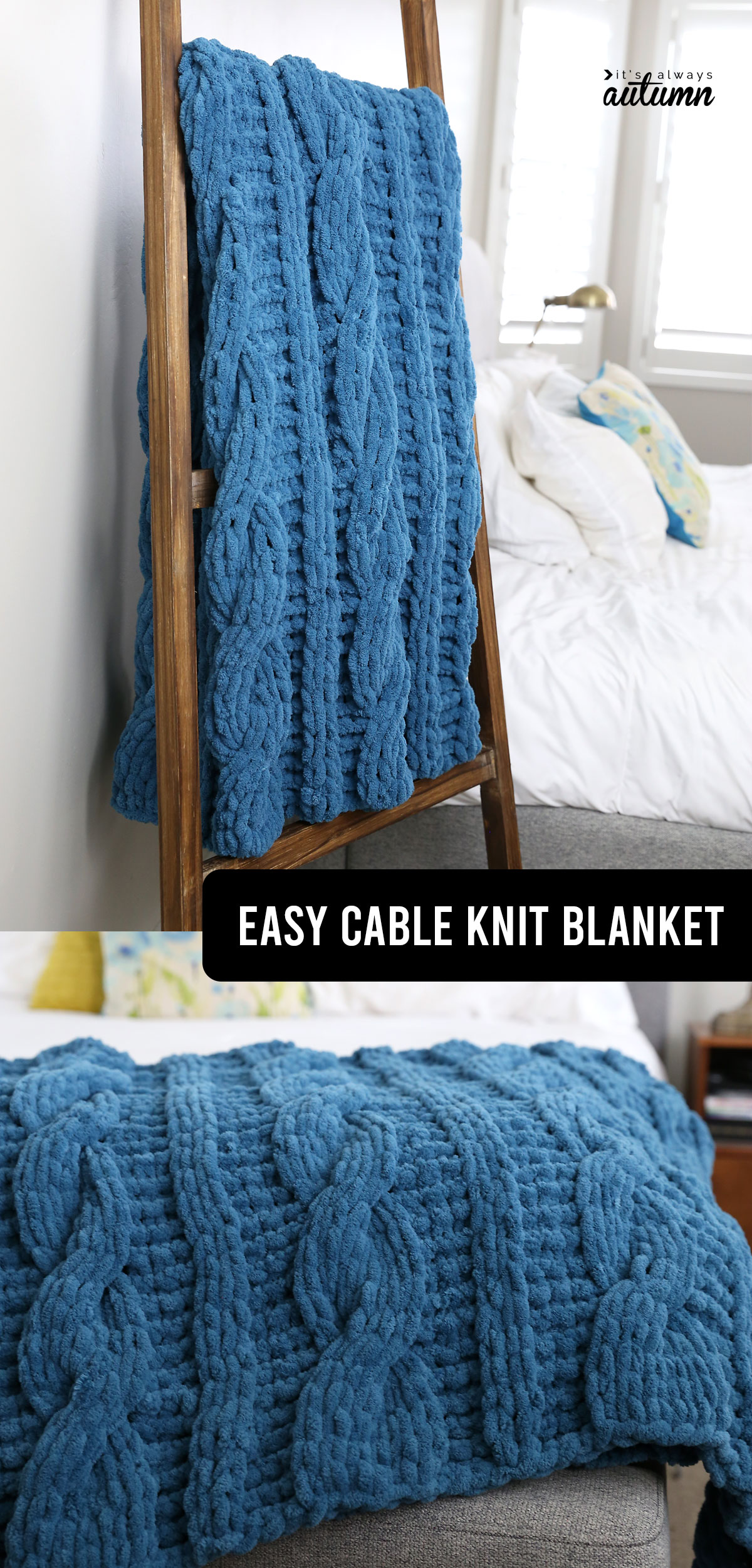 handmade blue cable knit blanket on a blanket ladder, on a bed