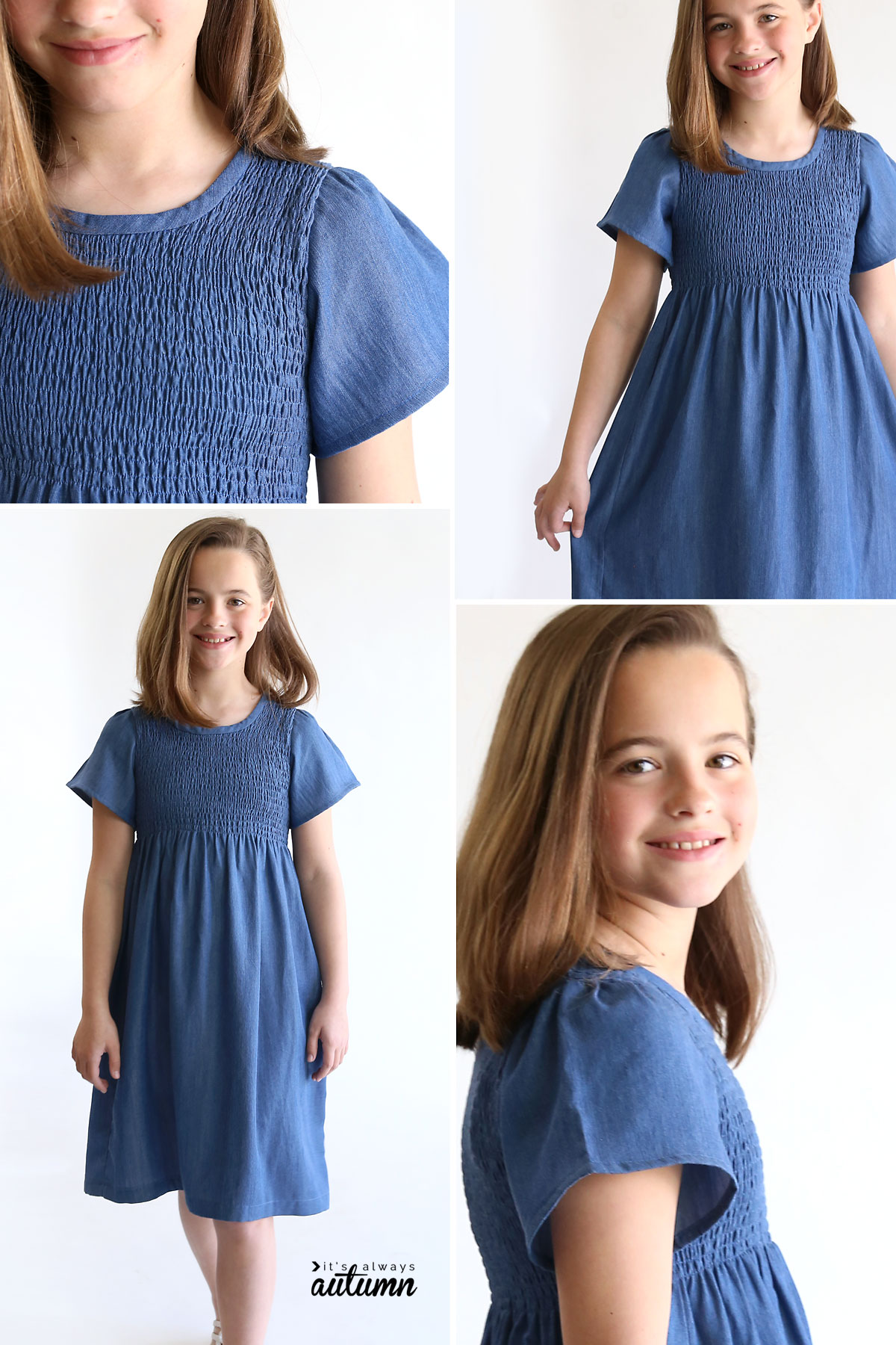 Collage of photos of a girl wearing a smocked blue chambray dress