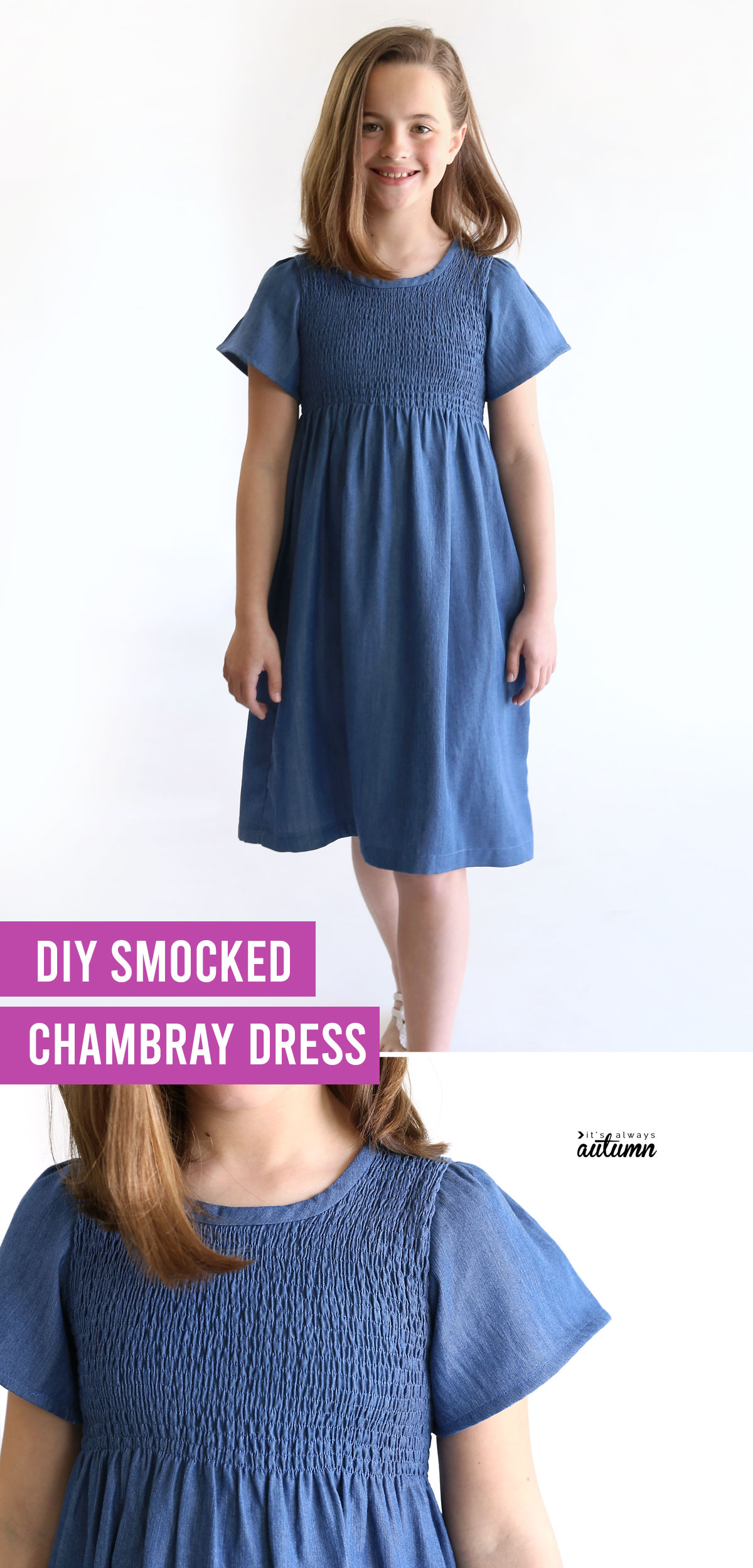 DIY smocked chambray dress; girl wearing a blue dress with smocked top