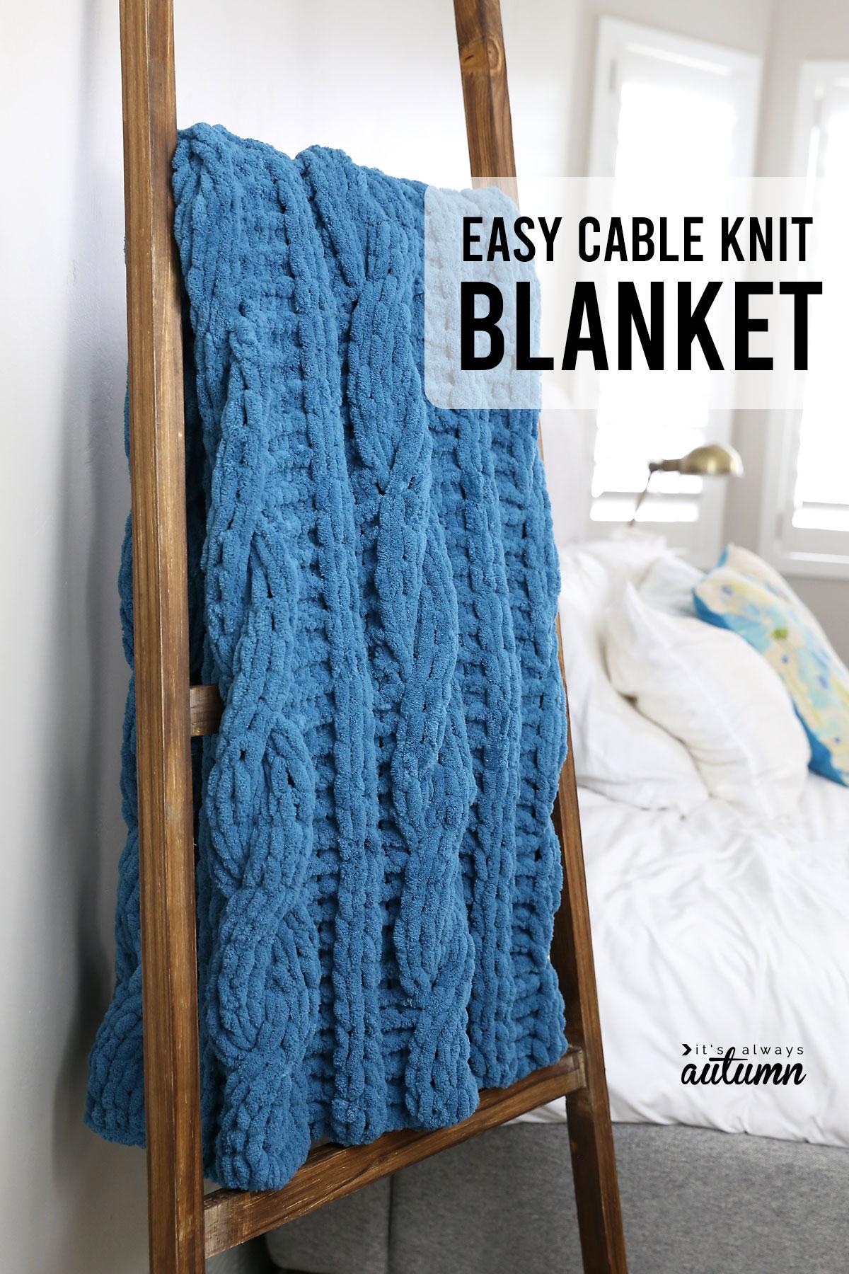 Easy cable knit blanket hanging on a blanket ladder