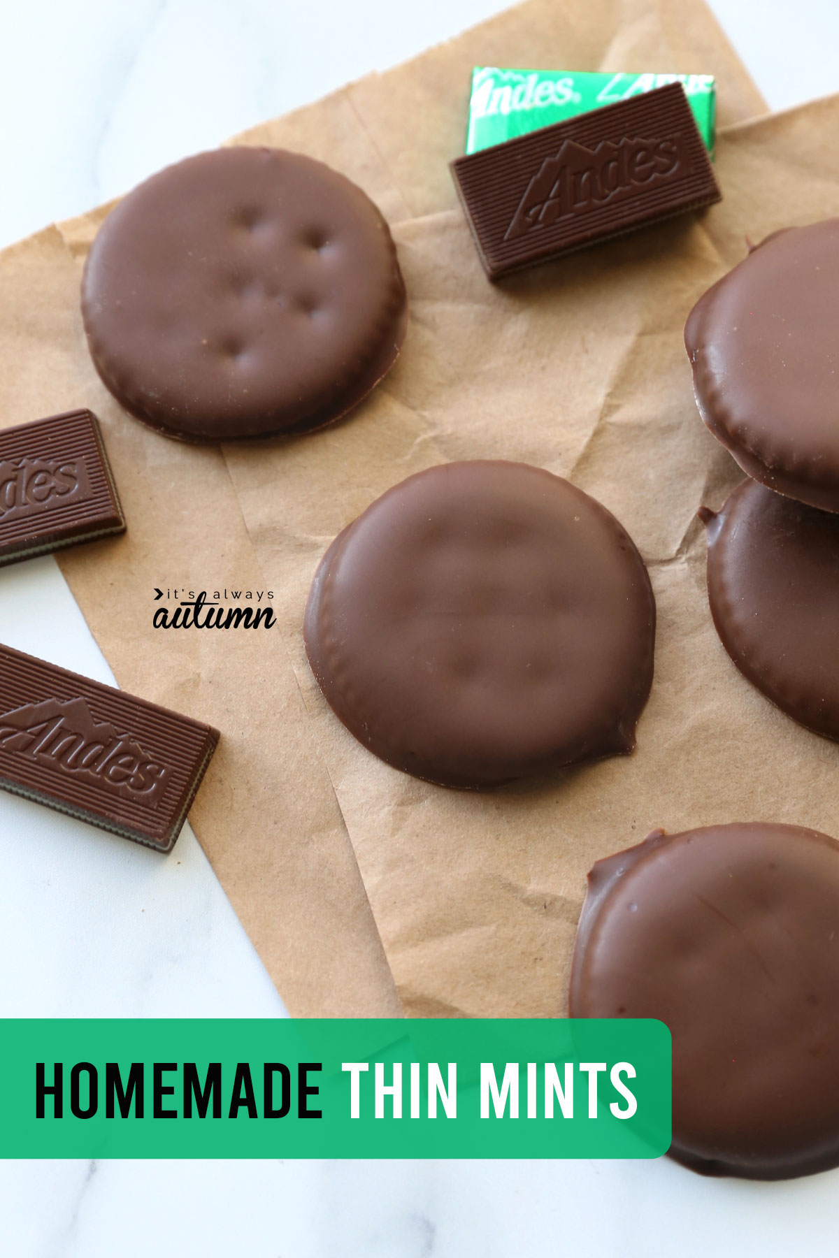 Homemade thin mints on brown paper with Andes mints