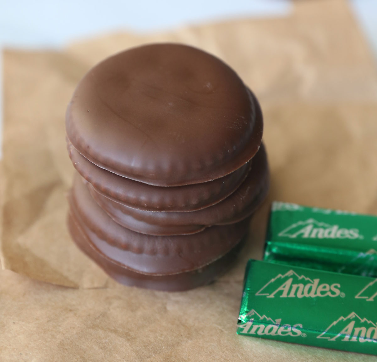 Stack of homemade thin mints