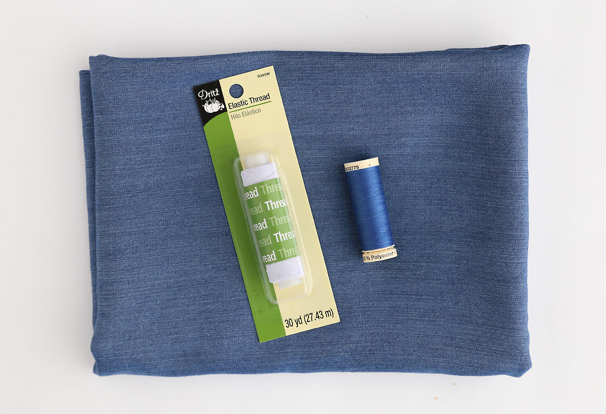 Tencel chambray fabric, matching blue thread, elastic thread