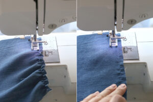 Sewing with elastic thread on a sewing machine; fabric gathers from the thread, hand stretching fabric flat as it's being sewn