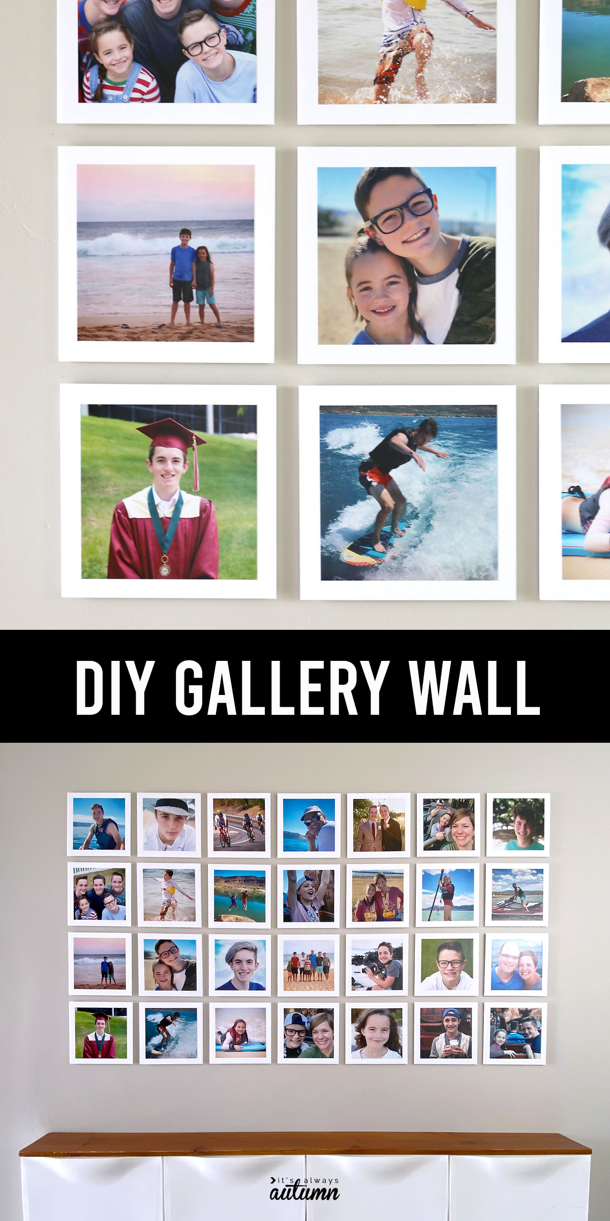 DIY gallery wall made from photos mounted on squares of foam core board