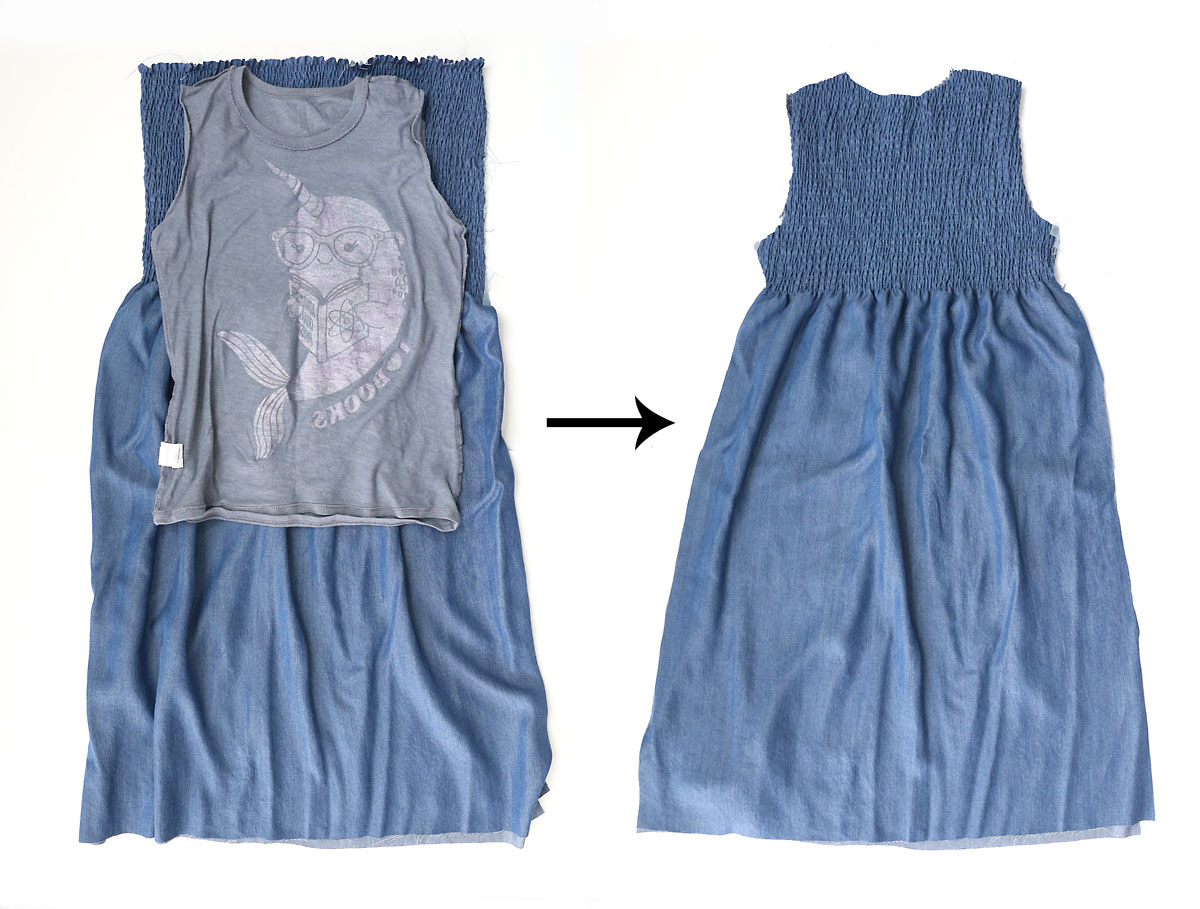 T-shirt turned inside out with sleeve tucked in placed on top of smocked chambray fabric; fabric cut into dress shape using t-shirt as a guide