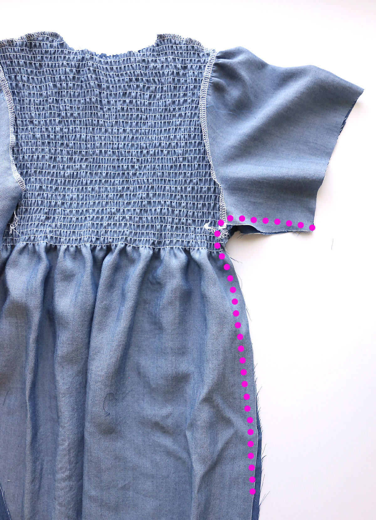 Chambray dress with side seam marked