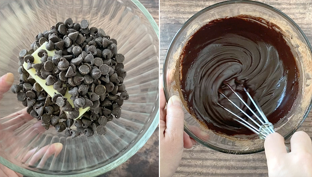 Bowl with butter and chocolate chips; bowl with chocolate babka filling being whisked smooth