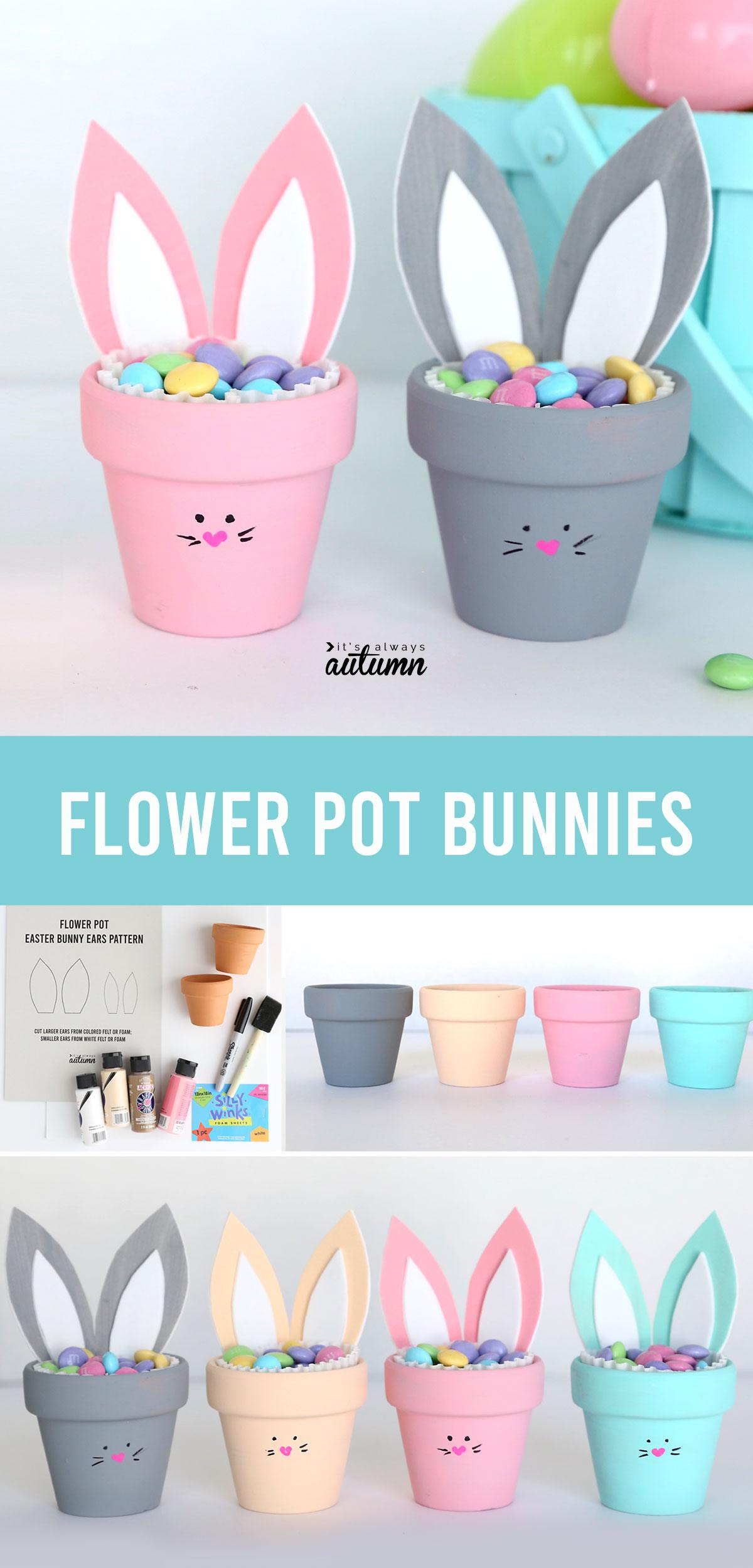 Flower pot bunnies craft; craft supplies; painted flower pots