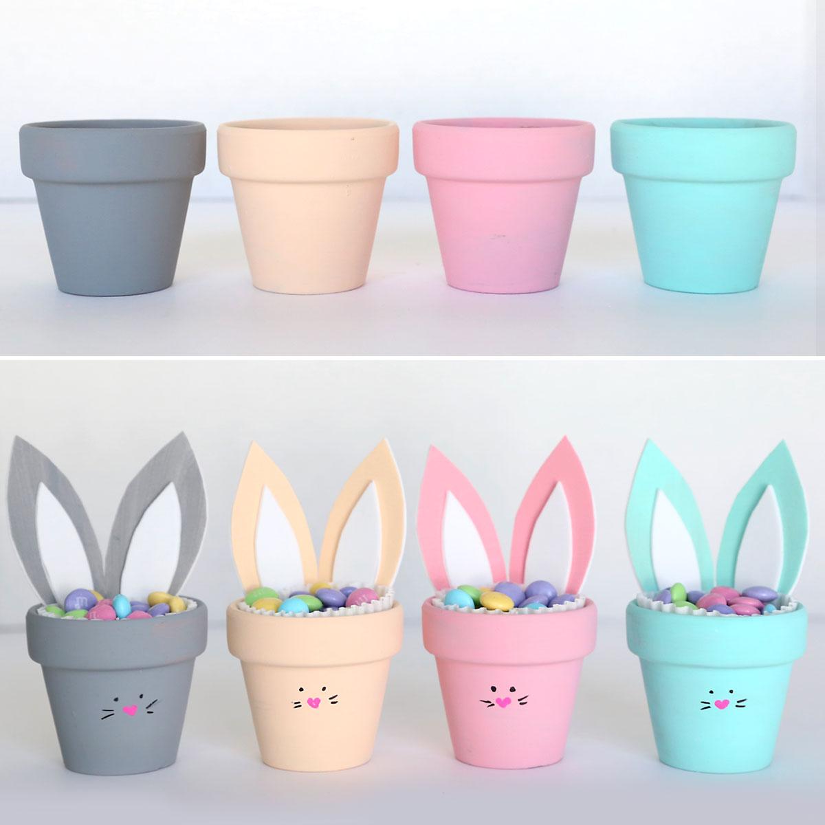 Four mini flower pots painted different colors; pots decorated as bunnies