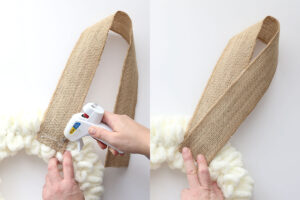 Hand placing more hot glue and attaching other end of burlap ribbon to create ears