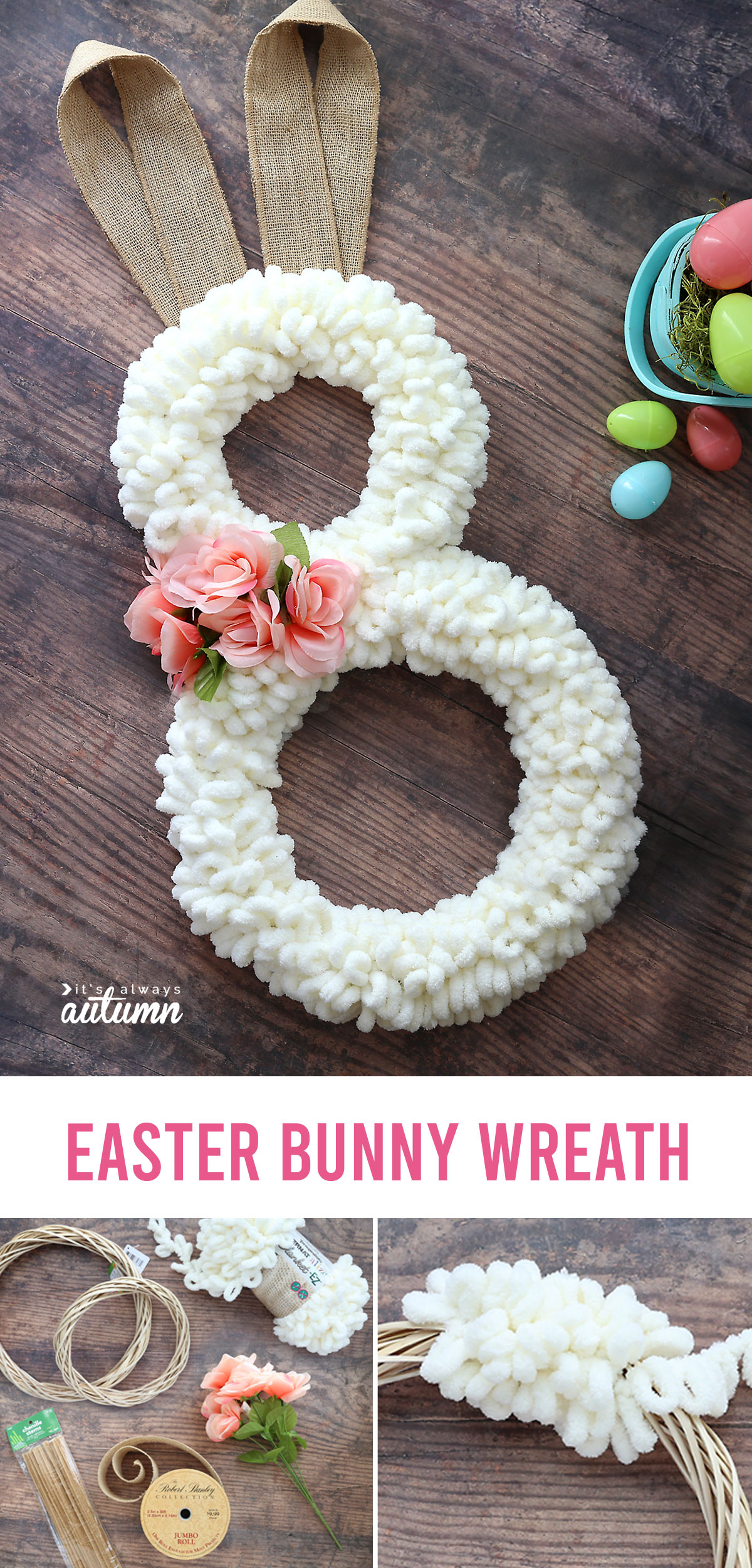 Easter bunny wreath made from cream loop yarn with burlap ribbon ears; supplies