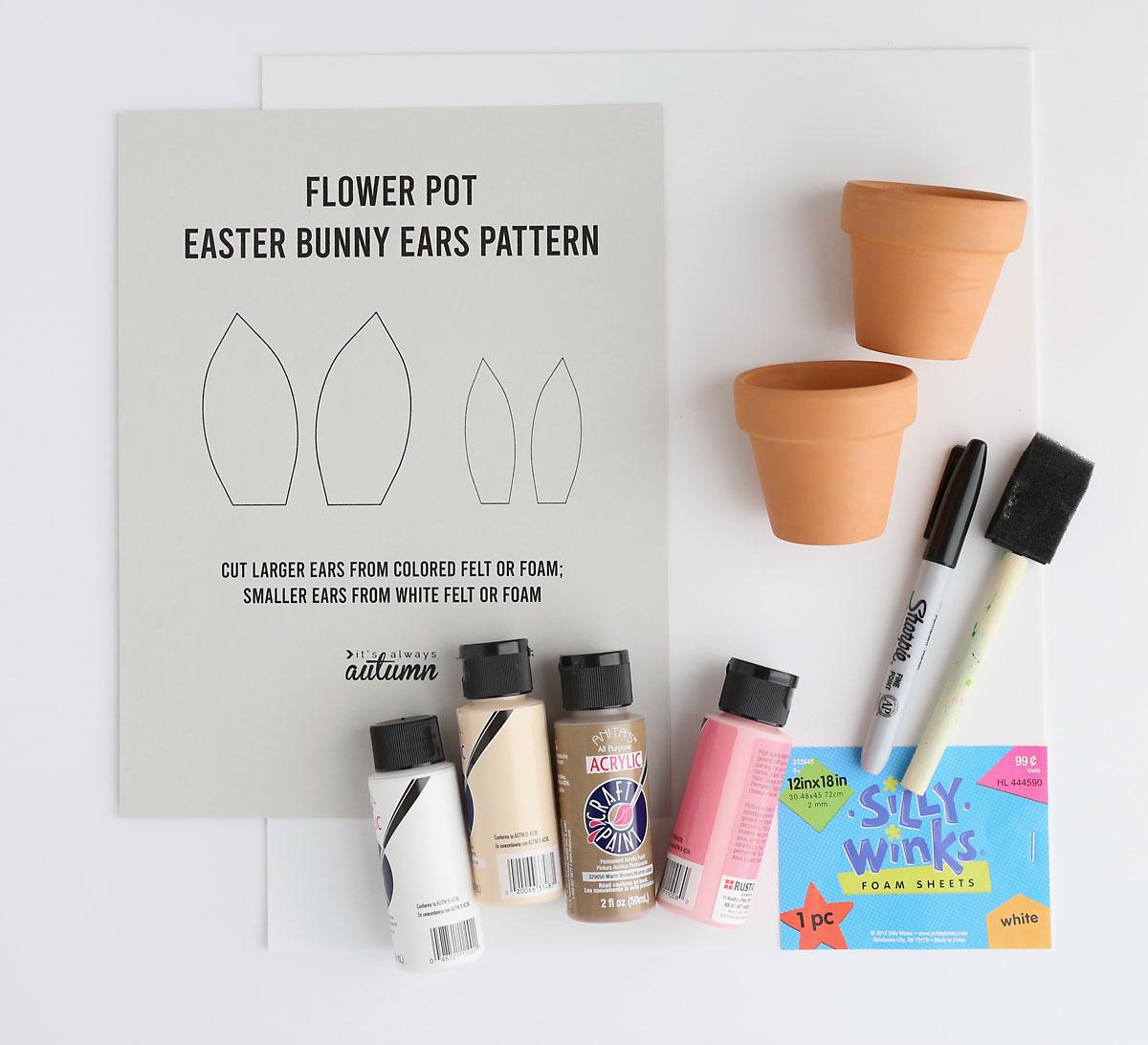 Flower pot bunny supplies: ears template, acrylic paints, flower pots, Sharpie, foam brush, craft foam sheet