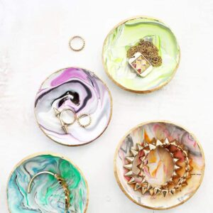 marbled clay ring dishes