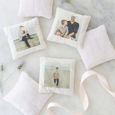 Fabric sachets that have photos printed on them