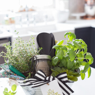 Gift basket with gardening items inside