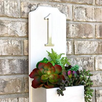 DIY address planter box with succulents