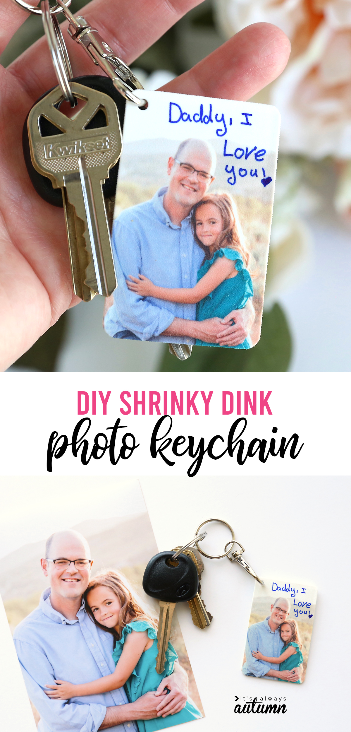 DIY Shrinky Dink photo keychain; hand holding keychain with picture of a girl and her dad on it