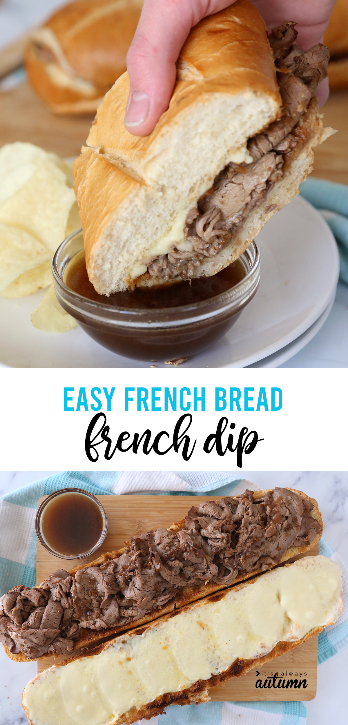 Hand dipping roast beef sandwich into au jus; open face french dip sandwich made on a loaf of french bread