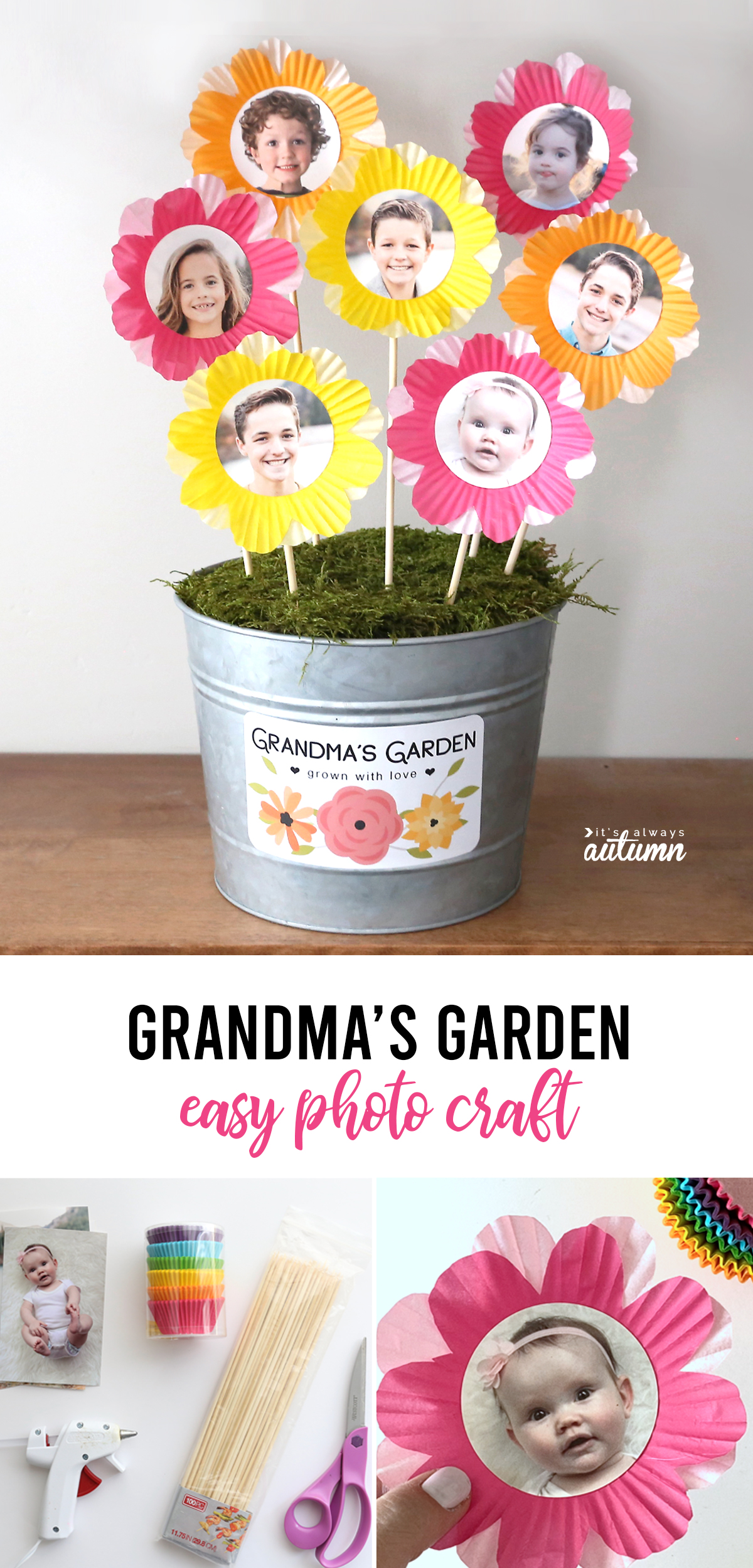 Flowers made from photos and cupcake liners in a metal pot with label: Grandma's Garden