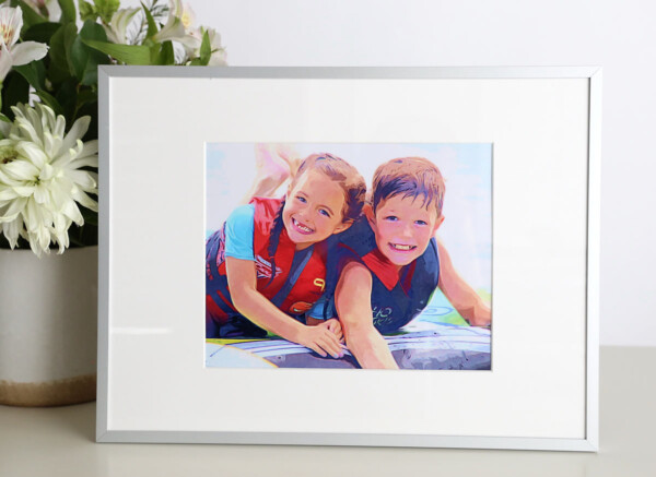 Illustrated photo of brother and sister playing in the water