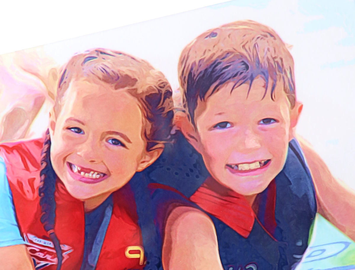 Illustrated photo of a boy and girl in life jackets