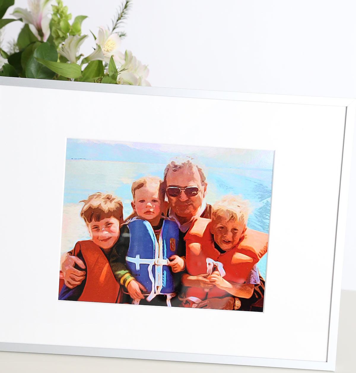 Illustrated photo of a grandpa and three little boys