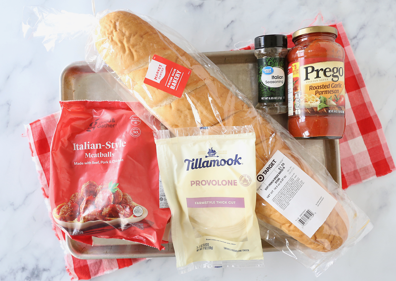 Ingredients: french bread, meatballs, cheese, italian seasoning, spaghetti sauce