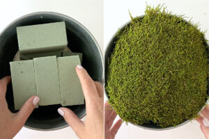 Filling flower pot with floral foam and moss