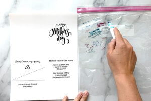 Mother's Day card printed on paper; hand coloring on a ziplock bag with markers