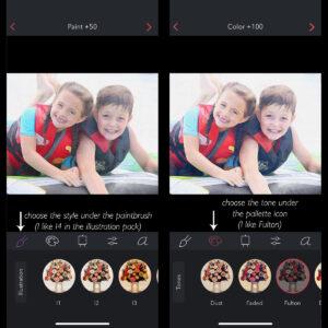 Screenshots of phone and the brushstroke app