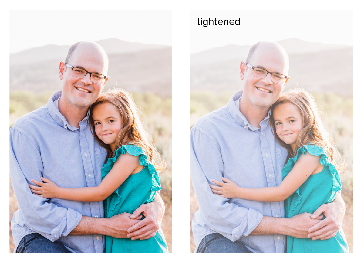 Photo of a girl and her dad; same photo that's been lightened considerably