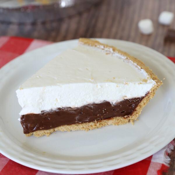 Slice of s'mores pie