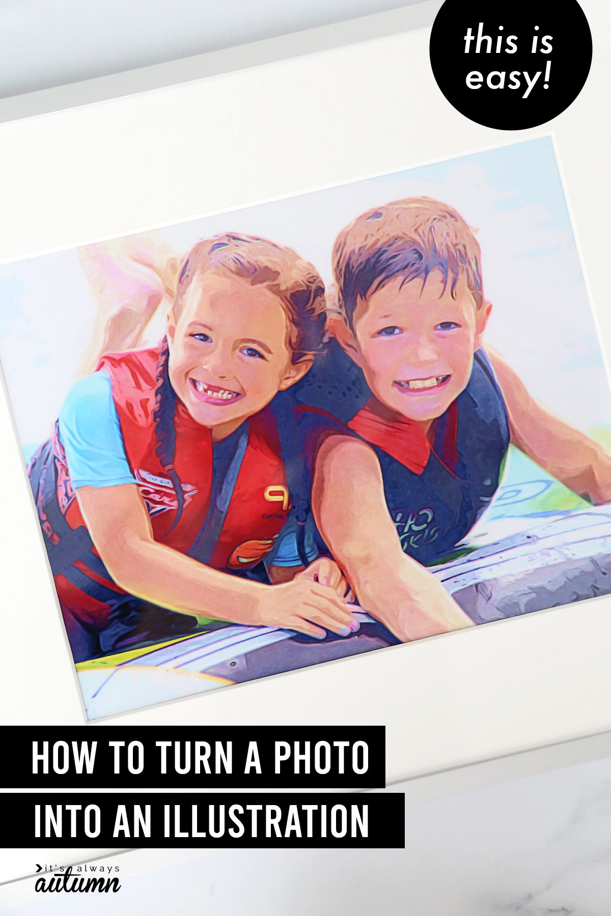 Illustrated photo of brother and sister playing in the water with text: how to turn a photo into an illustration