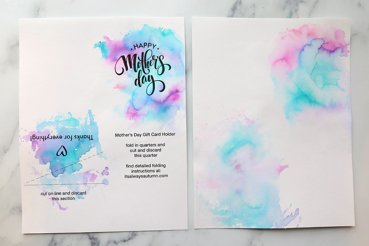 Printable template for Mother' Day card