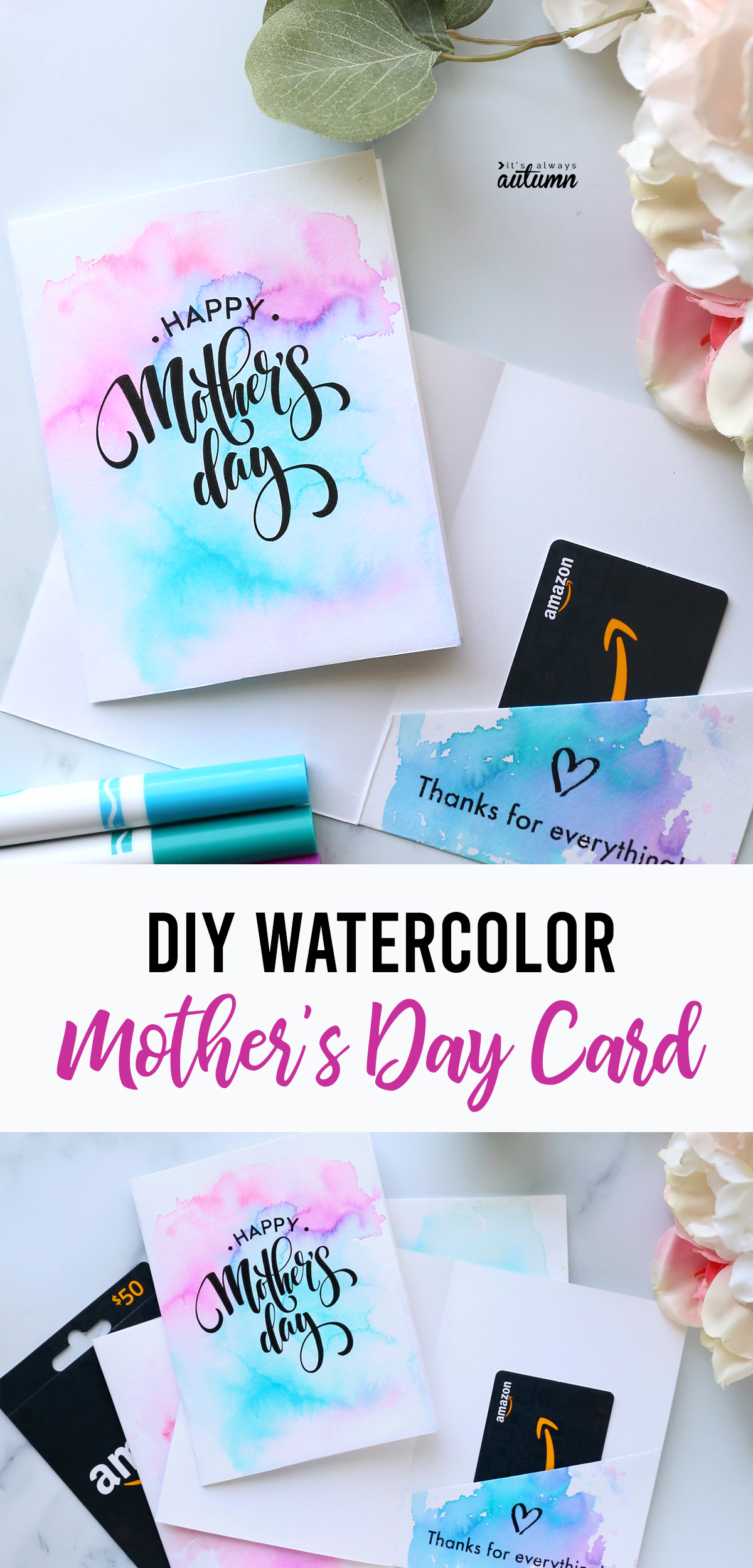 DIY watercolor Mother's Day cards with Amazon gift cards inside