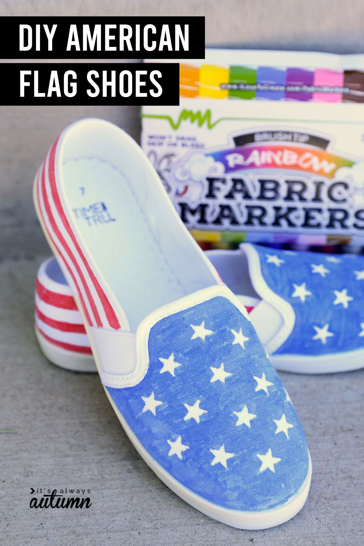 DIY American Flag Shoes with fabric markers